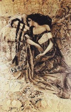 """Tamara and Demon"",1890-1891, Mikhail Vrubel. Illustration for M.Lermontov's poem ""Demon""."