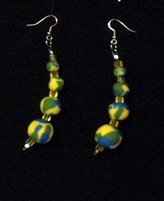 OOAK Tricolor Blue Green Yellow Swirled Bracelet Set  | NaturalJaurney - Jewelry on ArtFire