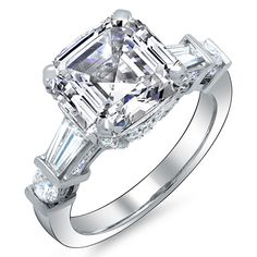 3 Stone Asscher Cut Diamond Ring G, (EGL Certified): Diamond Engagement Rings - Diamond Wedding Rings - Unique Designs Asscher Cut Diamond Engagement Ring, Diamond Wedding Rings, Diamond Rings, Solitaire Engagement, Thing 1, Or Rose, Beautiful Rings, Baguette, Rings