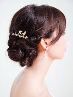 Blattgold Braut Haar Kamm Goldene Hochzeit von DavieandChiyo