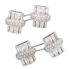 VAN CLEEF & ARPELS Art Deco Diamond Cufflinks