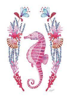 Pink seahorse illustration #watercolor #pink #seahorse #illustration #sea #summer #decor #drawing #kidsroom