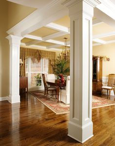House Plans - The Hartford - Home Plan 1048 The Hartford House Plan - Dining Room Hartford House, Wood Columns, Columns Decor, Columns Inside, House Columns, Stone Columns, Deco Restaurant, Ceiling Trim, Paint Ceiling