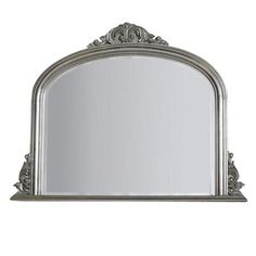 Classic Overmantle Wooden Mirror, Silver