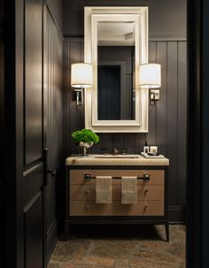 Powder room. Dark walls. Sconces.  #AlexMouldings, #PowderRoom