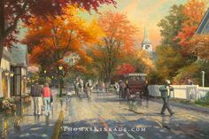 """Thomas Kinkade painted """"Autumn on Mackinac Island"""" in 2005. In it he captured the beauty of the Fall season on Mackinac Island, Michigan and in small towns across America. If you look closely you'll see Thom's tribute to his wife Nanette and her famous fudge recipe on the shop sign that reads, """"Nan's Fudge Shop"""". 5/27/15"""