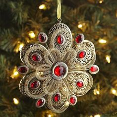 Metal Medallion Ornament - Gold & Red