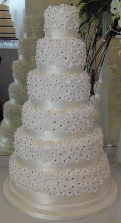 Daisy Hill Cakes Six Tier Diamond Cake 31 Wedding Cake With Crystal Decorations We made a beautiful six tier version of the Diamond Daisy cake recently for a fantastic Summer wedding. OMG I'm in love with this gorgeous wedding cake. So delicate and elegan Diamond Wedding Anniversary Cake, Diamond Wedding Cakes, Diamond Cake, Big Wedding Cakes, Elegant Wedding Cakes, Beautiful Wedding Cakes, Wedding Cake Designs, Wedding Cake Toppers, Beautiful Cakes