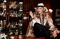 Valentina Zelyaeva gets ready for a night out on the town in Elle Russia's November issue. In front of David Burton's lens, Valentina wears a mix of menswear… Cigars And Women, Women Smoking Cigars, Smoking Ladies, Cigar Smoking, David Burton, Valentina Zelyaeva, Cigar Girl, Good Cigars, Retro Girls
