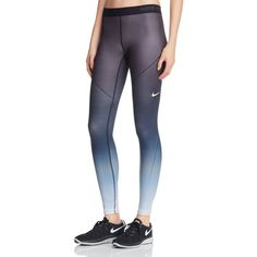 Nike Pro Hyperwarm Fade Leggings ($70) ❤ liked on Polyvore featuring pants, leggings, black fade, cold weather leggings, ombre pants, legging pants, ombre leggings and nike pants