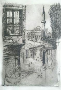 Sarajevo. Wiev on old town  Fine art. Dry point etching.  Artist's proof.  Work in progress.  SaFa