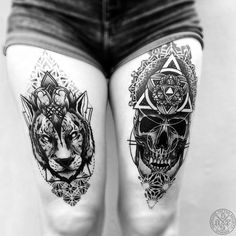 Stunning thigh tattoos by otheser_dsts.   These blackwork thigh tattoos are you to leave you craving for your very own design. They are trendy and stylish and oh so sexy! Enjoy!