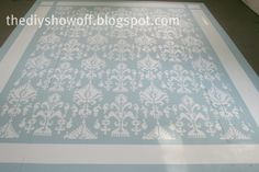 How to Paint and Stencil a Floor ~ DIY Show Off - Ellena Armiger Painted Plywood Floors, Painted Rug, Concrete Floors, Plywood Subfloor, Concrete Countertops, Concrete Furniture, Concrete Lamp, Plywood Furniture, Painting Carpet