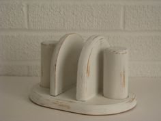 Wood Napkin Holder With Salt And Pepper Shakers White Shabby Distressed