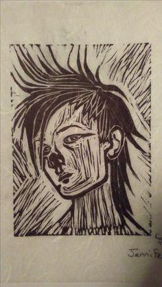 ClownFace Lino Print (2009-2010). Made by Jennifer LeBlanc at Lakehead University.