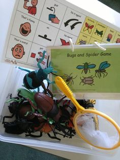 Super fun bug game… plastic bugs.. put them on your foot, head, arm! eek! Bugs, book and Aided Language Board all stored together!