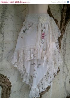 SALE AWAY vintage embroidered tablecloth skirt with by wildskin, $64.00
