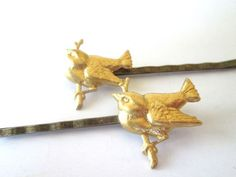 Gold #Birds Autumn #Hair Accessories  Bobby Pins by PlumePretty, $18.00