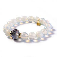 Bransoletka Like Opal wykonana z opalizujących kamieni półszlachetnych, elementów złoconych 24-karatowym złotem oraz ozdabiana kryształkami Swarovski Crystals