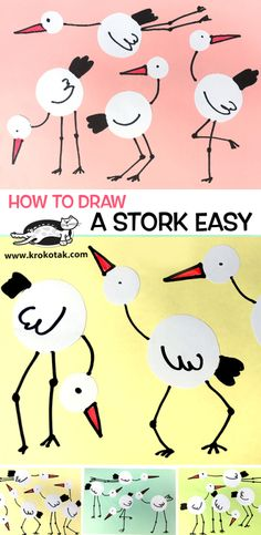 how to draw a stork - Art artisan pour les enfants Drawing For Kids, Painting For Kids, Art For Kids, Toddler Crafts, Crafts For Kids, City Collage, Kindergarten Art Lessons, Doki, Classroom Crafts
