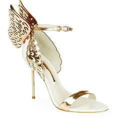 Sophia Webster Evangeline Leather Sandal ($505) ❤ liked on Polyvore featuring shoes, sandals, heels, gold, lullabies, stiletto sandals, heeled sandals, real leather shoes, stiletto heel sandals and angel wing shoes