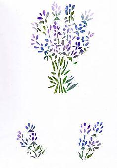 Lavender Stencil levendula gallyakból Stencil