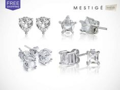 1 or 4 Pairs of Crystal Stud Earrings Made with Swarovski Elements + Free Shipping...WOW - Was $49.00... Today Only $9.00