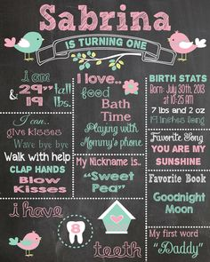 First Birthday Chalkboard Printable Poster bird theme / Baby Girl / 1st Birthday .pdf or .jpeg by RusticRosebudDesigns on Etsy
