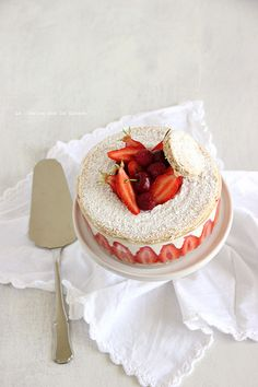 almond biscuit, light vanilla cream and strawberries