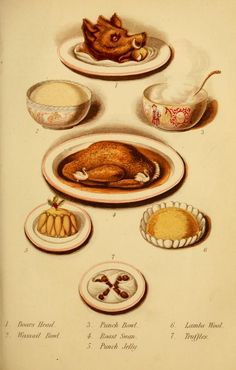 Typical of an Historical Christmas meal.   From:  Cassell's Dictionary of Cookery (1892) archive.org