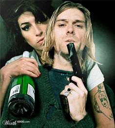 Kind of Creepy - Of course, this picture would not have been possible without the aid of Photoshop, considering both Amy Winehouse and Kurt Cobain died in different decades (Cobain in 1994 and Winehouse in 2011); a Photo Effects entry on the Worth1000 website