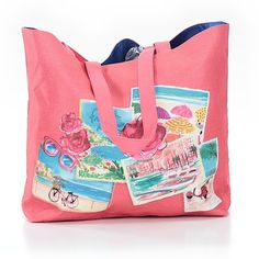 Pre-owned Lancome Paris  Tote: Coral Women's Bags ($21) ❤ liked on Polyvore featuring bags, handbags, tote bags, coral, coral tote, man tote bag, tote purses, red tote purse and coral tote bag