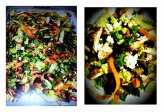Mr Jamie Oliver's Chicken Tikka, Lentils & Spinach Salad on the left.  Our version on the right. 15 Minute Meals.