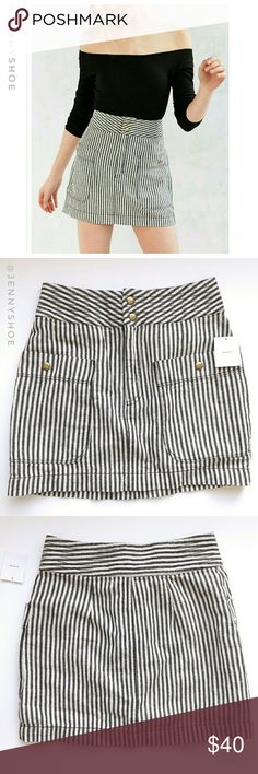 {urban outfitters} striped railroad skirt A classic and chic striped railroad skirt from Urban Outfitters  Brand is Silence & Noise  Has a flattering silhouette and looks great with a crop top.  Girly and cute. Super trendy.  Brand new with tags Size 0 Urban Outfitters Skirts