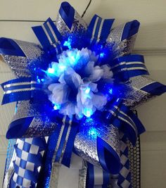 Cy Creek Homecoming Mum with Led lights - blue silver - Ready To Ship  Custom orders welcome.