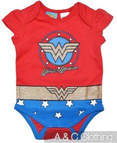 Baby girls Wonderwoman Wonder Woman Onesie BNWT New Romper Bodysuit costume