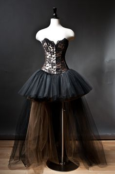 Custom Size Black and Gold lace and tulle Burlesque by Glamtastik, $295.00