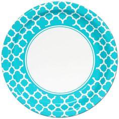 Teal Quatrefoil Lunch Plates (8)