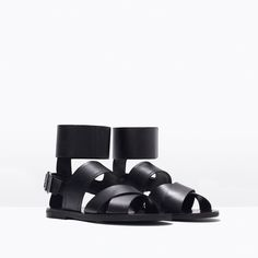 Image 2 of WIDE STRAP LEATHER SANDALS from Zara