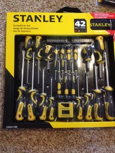 New! 42 Piece Pc Screwdriver Set Flat Straight Phillips Bonus Carry Bag Box Lot  #Stanley