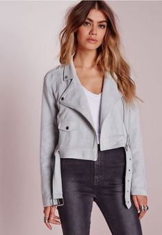 """Calling all taller ballers. Shop our Missguided Tall range, for babes 5""""7 and over.  Our love for luxe looking fabrics has reached new levels this season and this faux suede biker jacket is ticking all our boxes! In a grey faux suede, t..."""