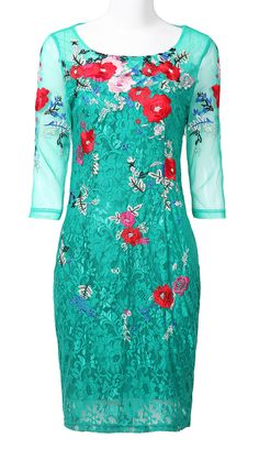 Green Sheer Half Sleeve Embroidery Flowers Lace Dress - Sheinside.com