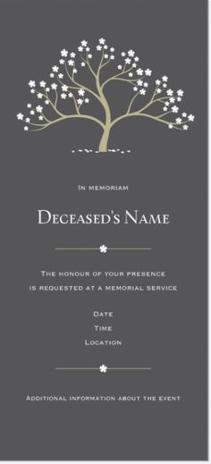 Like the wording of this card Opau0027s Memorial Service Pinterest - invitation for funeral ceremony