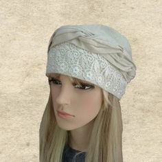 This headcovering is really modern, nice and comfortable head accessory. Its easy to wear and looks great on. Theres absolutely no tying or closing involved. One size fits most. 100% Linen NOTE Actual color may slightly different depending on your monitor. Please contact us if you have any Knitted Beret, Knit Cowl, Loop Scarf, Circle Scarf, Turban, Header, Slouchy Beanie Hats, Summer Hats For Women, Wool Berets