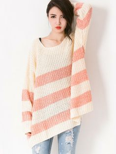 Striped Hem Waffle Sweater $29.99  This Striped Hem Waffle Sweater features a very loose fit knitted sweater. Round neck. Long sleeves and is open for alteration to shorten. Striped hem. Well fitted if paired with pants or shorts.