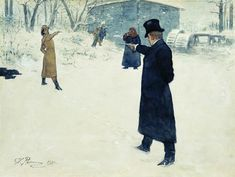 Illustration of Eugene Onegin and Vladimir Lensky's duel by Ilya Repin (1844–1930)