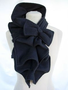 Ruffled Bow Scarf - Fleece MADE-TO-ORDER, Black, Red, Dark Gray, Burgundy, etc... $35.00, via Etsy.  LOVE   http://coolearringscollections.blogspot.com