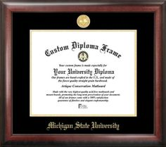 Michigan State Spartans Gold Embossed Diploma Frame >>> Visit the image link more details.