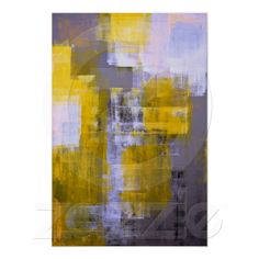 Grey and Yellow Abstract Art Poster