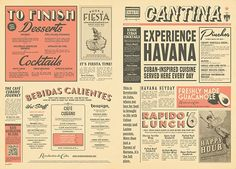 Typography  Vintage Newspaper Menu Design Graphic Design Mexican & Cuban Style by www.diag